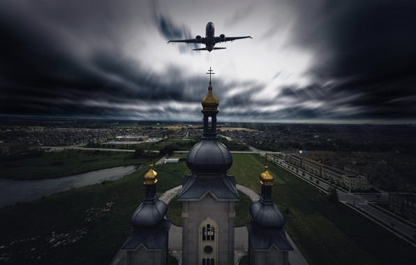 Picture the city, temple, the plane