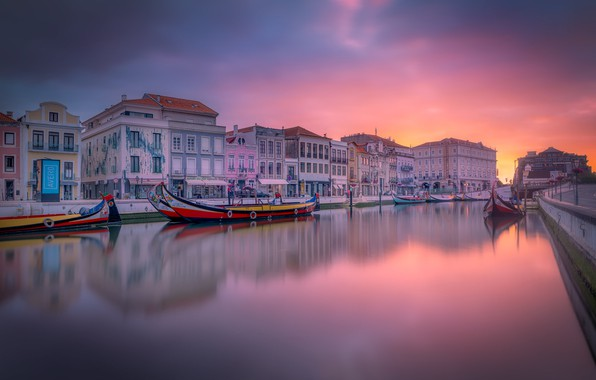Picture dawn, building, home, boats, channel, Portugal, Portugal, Aveiro, Aveiro