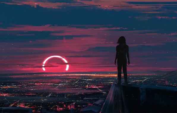 Picture Sunset, Figure, The city, People, Art, Lunar, Aenami, by Aenami, Alena Aenam The, Cover art, …