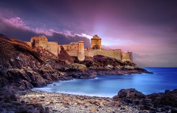 Picture landscape, clouds, Strait, stones, castle, France, The Channel, Brittany, Fort-la-Latte, Fort-La-Latte, Rosh Goyon