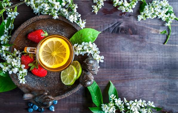Picture berries, lemon, tea, blueberries, strawberry, mug, lime, drink, wood, tray