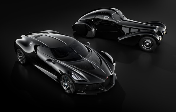 Picture machine, retro, black, Bugatti, stylish, hypercar, The Black Car