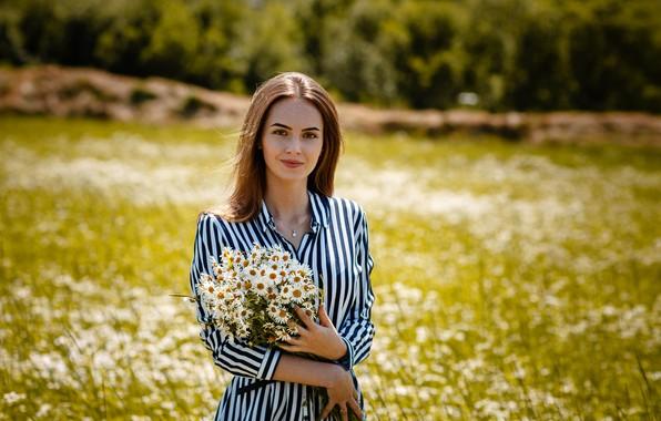 Picture look, smile, chamomile, Girl, Alexey Gilev