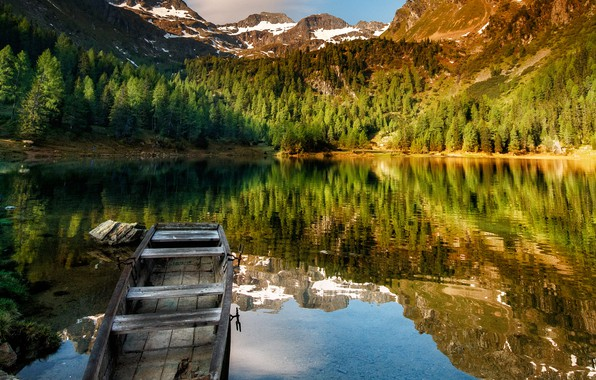 Picture landscape, mountains, nature, lake, reflection, boat, Austria, Alps, forest, Bank, Tamas Hauk