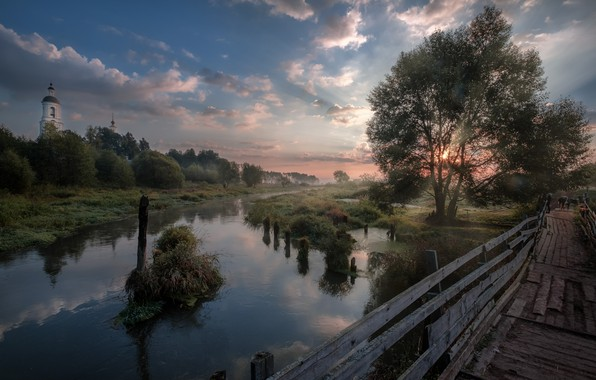 Picture grass, the sun, clouds, rays, trees, landscape, nature, fog, dawn, village, morning, Church, the bridge, …