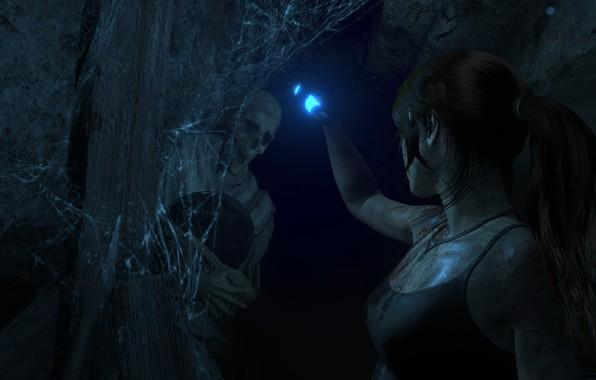 Picture Web, Cave, Skeleton, Lara Croft, Rise Of The Tomb Raider