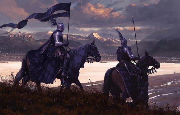 Picture the sky, clouds, the city, weapons, horse, armor, flag, warrior, rider, Knight