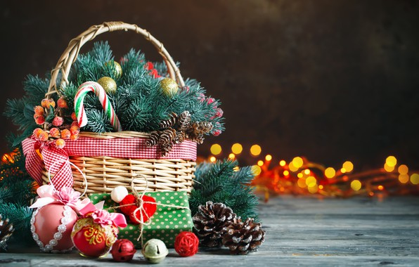 Picture decoration, New Year, Christmas, gifts, christmas, balls, wood, merry, decoration, basket, gift box, fir tree, …