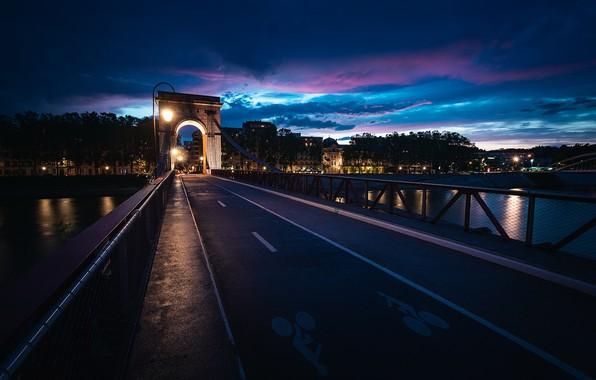 Picture night, bridge, the city, Auvergne-Rhone-Alpes, Vaise Rochecardon Industry, Arrondissement of Lyon