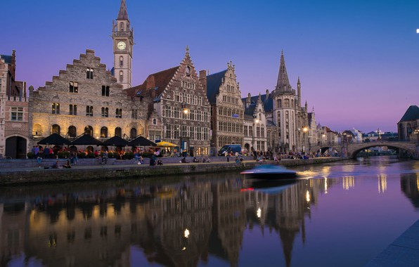 Picture night, river, home, boat, Belgium, Ghent