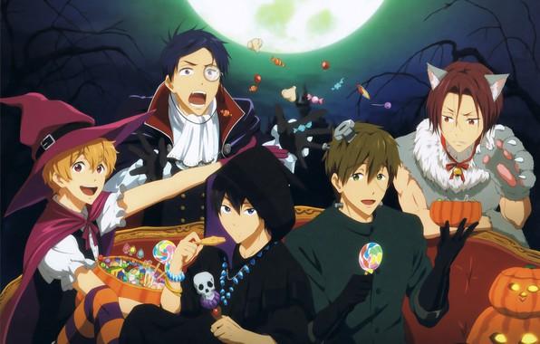 Picture sweets, Halloween, pumpkin, guys, Frankenstein, the full moon, werewolf, friends, ears, Jack, black cloak, witch …