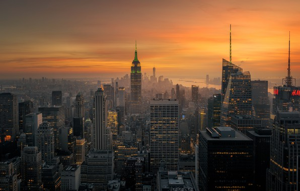 Picture light, the city, the evening, morning, USA, New York