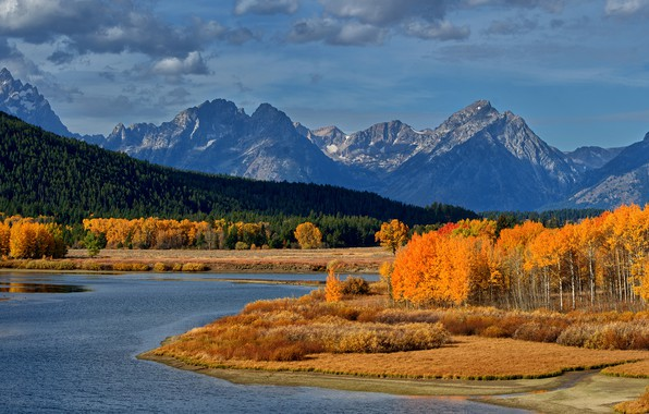 Photo wallpaper autumn, forest, the sky, the sun, clouds, trees, mountains, river, USA, yellow, Grand Teton National ...