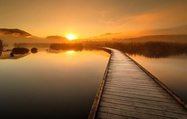 Picture sunset, bridge, nature, lake