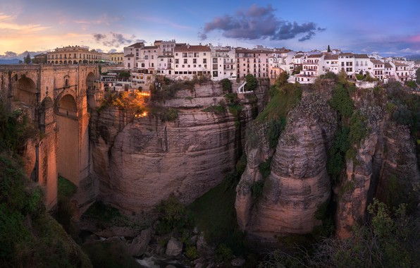 Picture landscape, bridge, the city, rocks, home, the evening, gorge, Spain, Andalusia, Rhonda