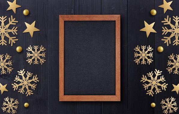 Picture winter, snowflakes, frame, golden, black background, black, Christmas, winter, background, snowflakes, frame