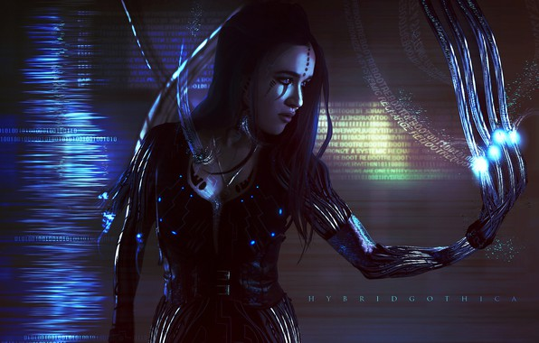 Picture Girl, Wire, Girl, Fantasy, Art, Art, Fiction, Cyborg, Science Fiction, Science fiction, Cyberpunk, Tansie Stephens, ...