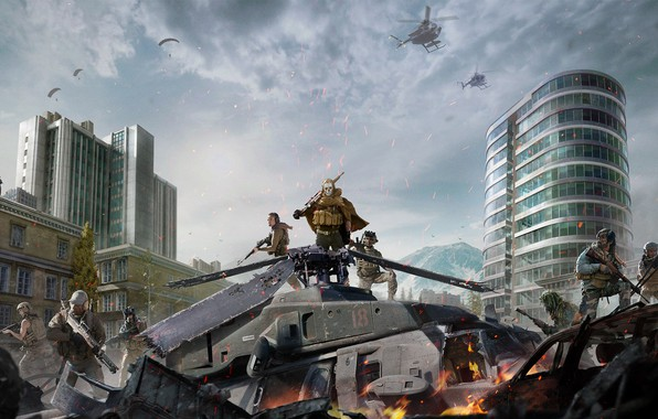 Picture The sky, Clouds, Mountains, Fire, The building, Weapons, Call of Duty, Military, Helicopter, Activision, Equipment, …