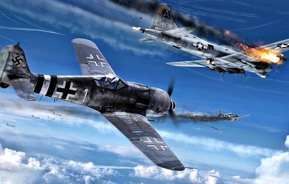 Picture B-17G, Fw.190A, 8th Air Force, Strategic bombing of Germany, Storm season 1