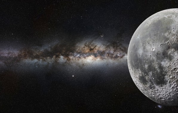 Picture moon, art, cosmos, sci fi
