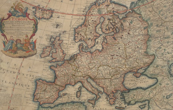 Picture old maps, old maps, 1700, Map Of Europe, Vintage Europe map, Parchment, Map of Europe