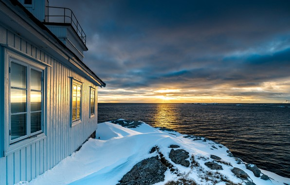Picture sea, the sky, the sun, clouds, snow, sunset, clouds, house, stones, coast, horizon, Norway, The …