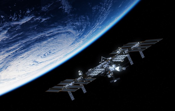 Picture planet, satellite, space station
