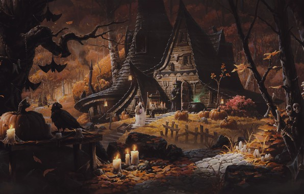 Picture forest, cat, night, house, pumpkin, bat, witch, Raven, halloween
