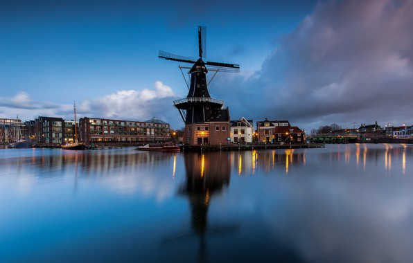 Picture the evening, mill, Netherlands, Haarlem, Papentorenvest