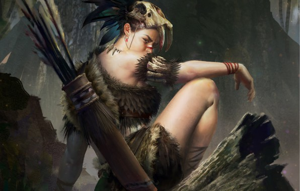 Picture forest, look, girl, trees, nature, weapons, feathers, bow, art, Fantasy, art, LI jiawei, .pose