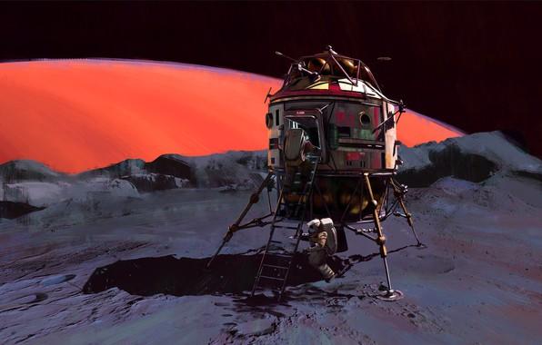 Picture Figure, Space, Astronaut, Astronaut, USSR, USSR, Mars, Art, Space, Mars, Illustration, Concept Art, Spaceship, Science …