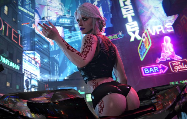 Photo wallpaper The city, cyberpunk, Art, Fiction, cyberpunk, Cyberpunk 2077, CRIS, Ciri, Cirilla, Cd projekt red, Cirilla ...