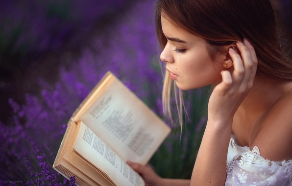 Picture girl, face, mood, hand, book, lavender, Denis Lankin