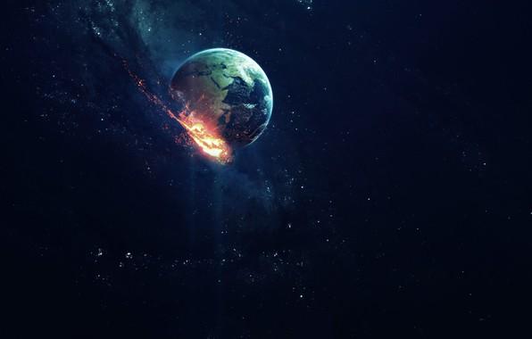 Photo Wallpaper Stars Comet Planet Space Earth Apocalypse Art
