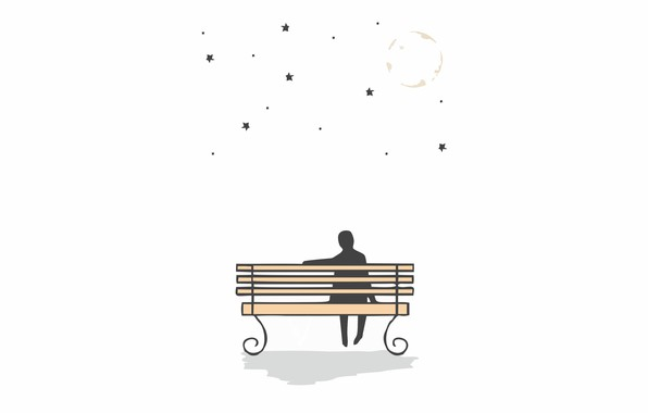 Picture the moon, moon, stars, sitting on the bench, looking at the stars, looking at the …