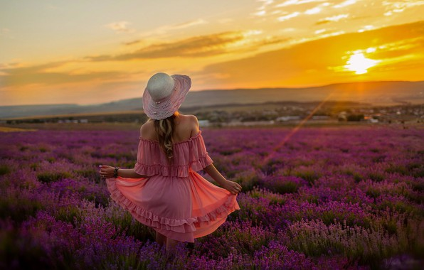 Picture field, summer, girl, sunset, flowers, nature, photo, model, hair, back, the evening, hat, dress, Vitaly …