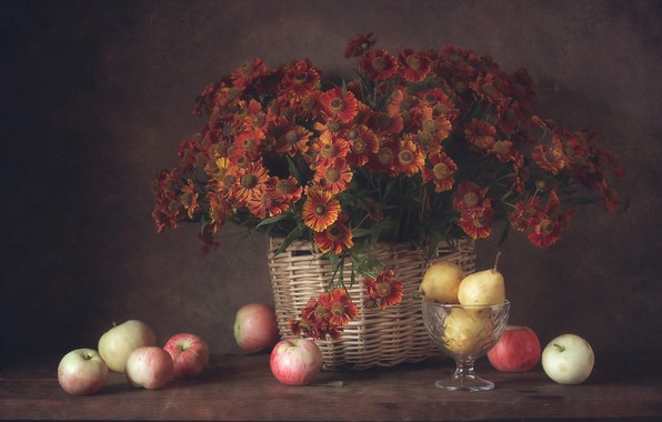 Picture autumn, flowers, apples, bouquet, still life, pear