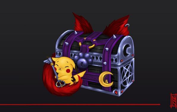 Picture fantasy, art, treasure, chest, Pikachu, children's, Natalia Romero Nuñez, Luna card set