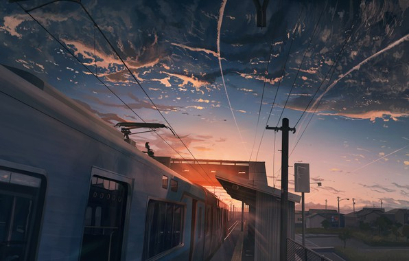 Picture the sky, sunset, train, home