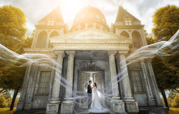 Picture girl, light, trees, castle, holiday, white, the building, door, pair, costume, columns, male, guy, Asian, …