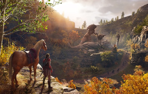 Picture autumn, forest, leaves, trees, horse, Assassin's Creed Odyssey