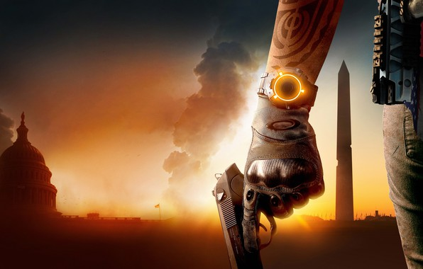 Picture the city, gun, watch, Washington, Tom Clancy's The Division 2, The division 2
