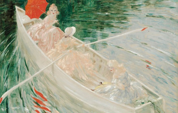 Picture paddles, red umbrella, Louis Icart, In the boat