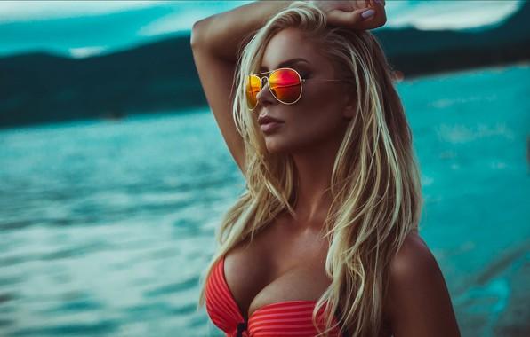 Picture sea, chest, model, Girl, blonde, bra, sunglasses, Jason Harynuk