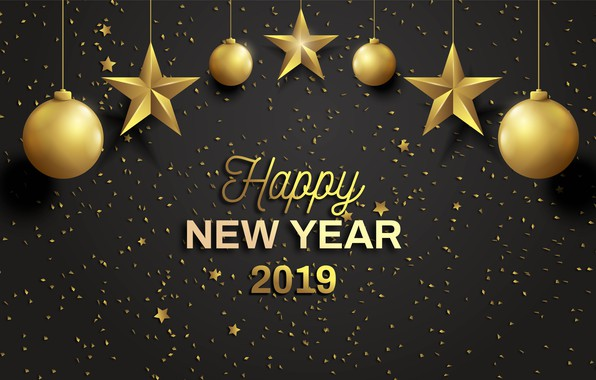 Picture background, holiday, black, New year, New year, 2019