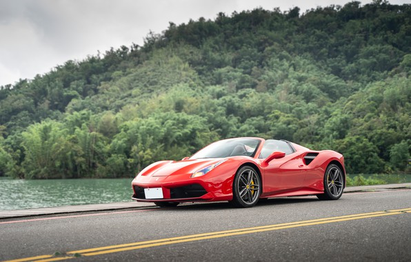 Picture road, forest, red, sports car, Ferrari 488 Spider