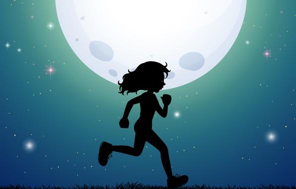 Picture moon, children, ruuning