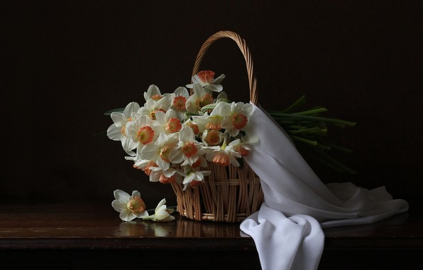 Picture white, basket, daffodils, the dark background