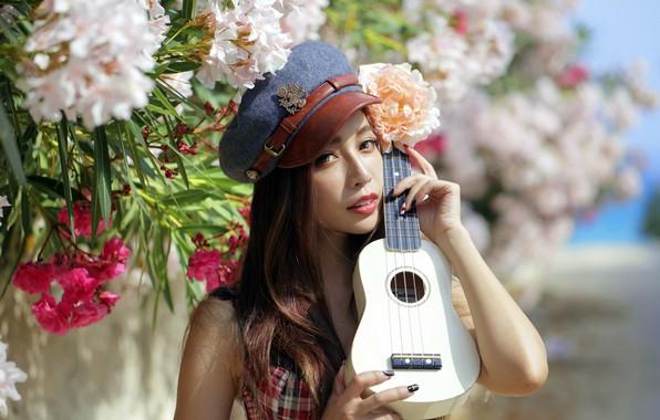 Picture girl, guitar, portrait, Asian