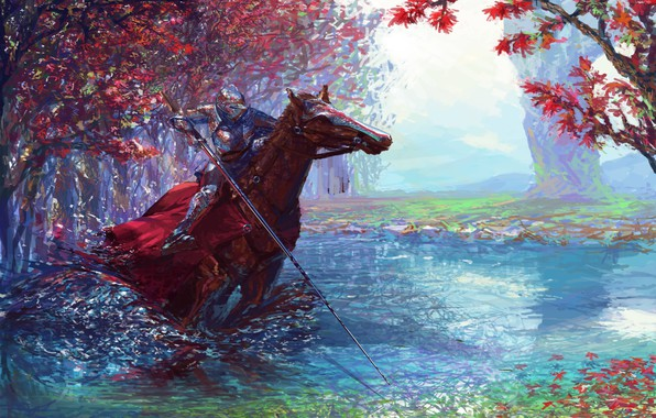 Picture colorful, fantasy, forest, river, armor, trees, weapon, horse, digital art, artwork, warrior, fantasy art, Knight, …